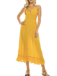 Misc LA Distributor Bohemian Day Dress in Mustard