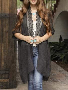 Leto Black  Lace Trim Kimono