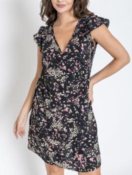 Misc LA Distributor Flutter Sleeve Floral  Dress