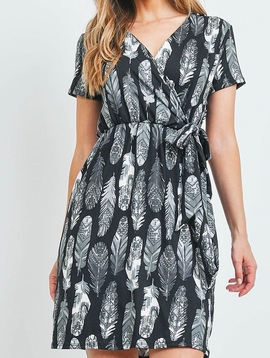 Rousseau Feather Print Dress