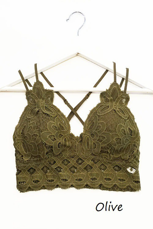Olive Dainty Crochet Bralette