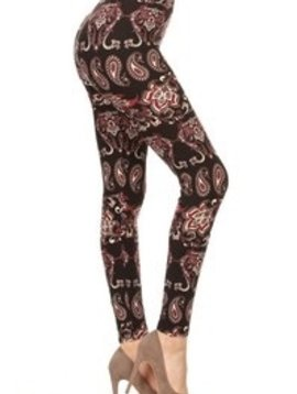 Red Ribbon Scarlet Paisley Leggings