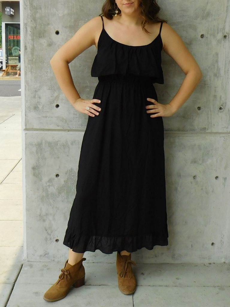 Gypsy Chic Prairie Maxi Dress, Black