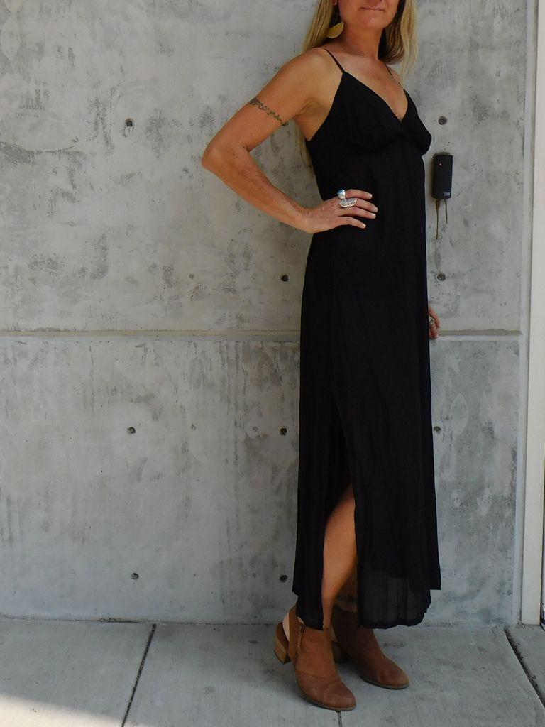 Gypsy Chic Sunset Slip Maxi, Black