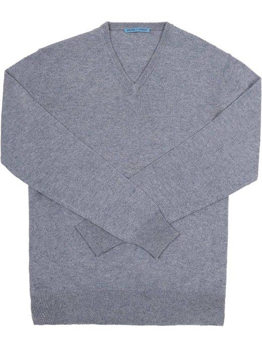 Seize sur Vingt Freyed Light Greyish Blue V-Neck Sweater