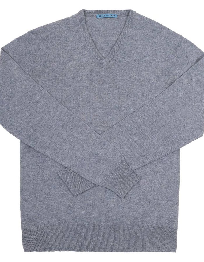 Seize sur Vingt Freyed Light Greyish Blue V-Neck Sweater