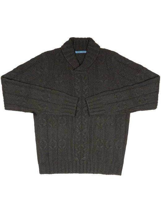 Seize sur Vingt Green/Blue Mélange Shawl Cable Sweater