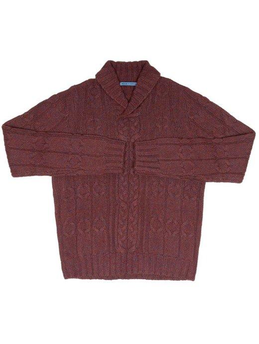 Seize sur Vingt Red/Denim Mélange Shawl Cable Sweater