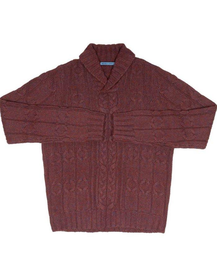 Seize sur Vingt Red/Denim MélangeShawl Cable Sweater
