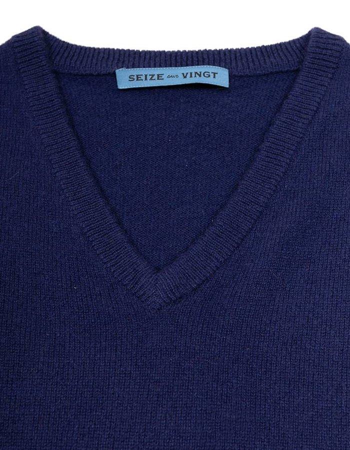 Seize sur Vingt Royal Navy V-Neck Sweater