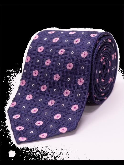 Seize sur Vingt Pink Floral Navy Tie