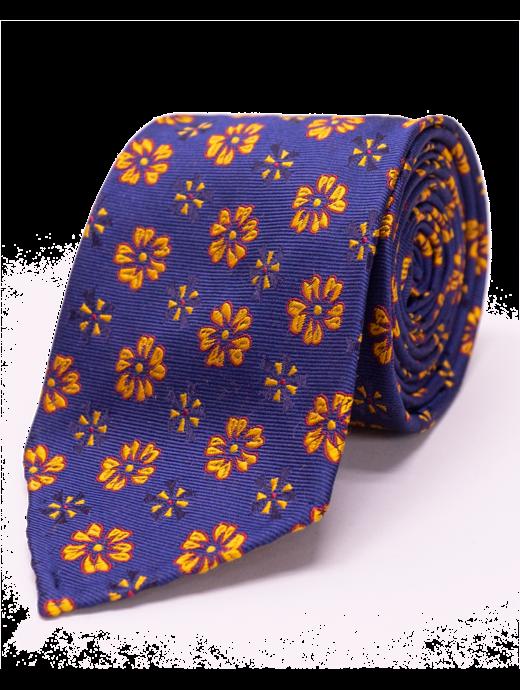 Seize sur Vingt Yellow Floral Navy Tie