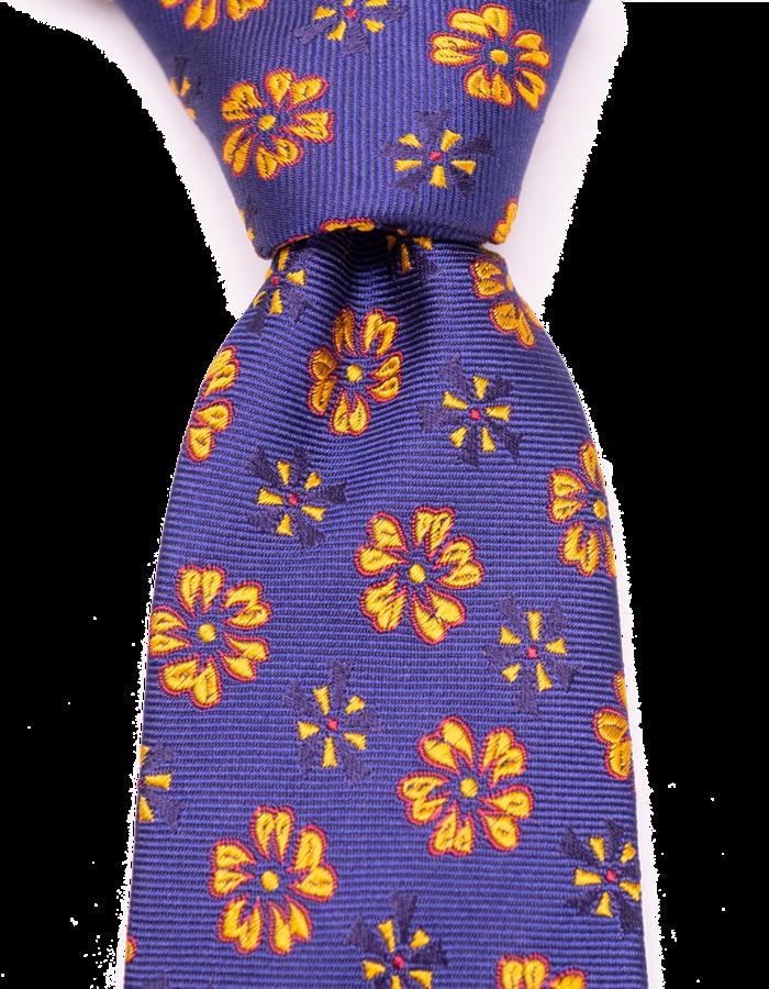 Seize sur Vingt TIE yellow/red/blue flowers on navy 01933