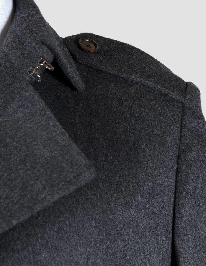 Seize sur Vingt Overcoat 100% Cashmere Charcoal Handmade