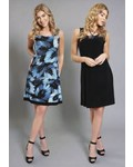 Compli K Sleeveless Reversible Blue Leaf Printed Dress