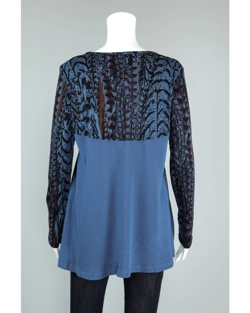 Prairie Cotton Foxtail Print Relax Empire Waffle Back Tunic