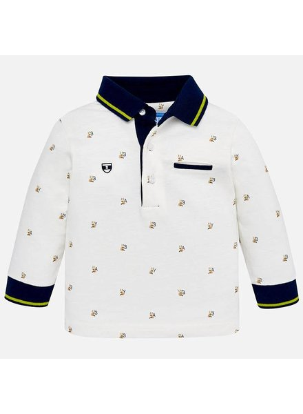 Mayoral Navy Trim Patterned Polo Shirt
