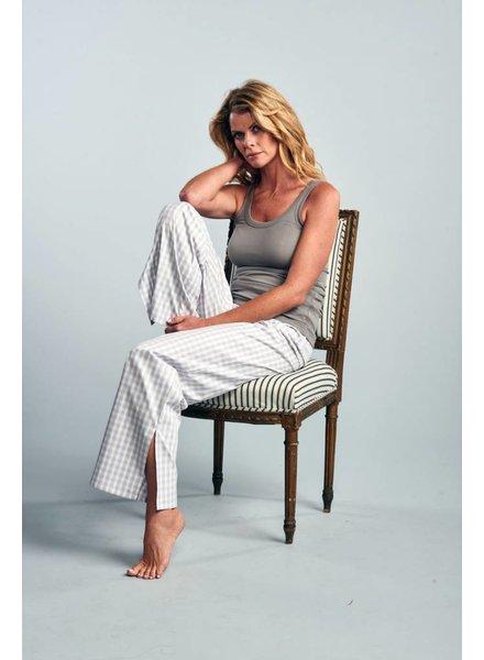 Claridge + King The Pajama Pant Grey Mist Gingham Pinpoint