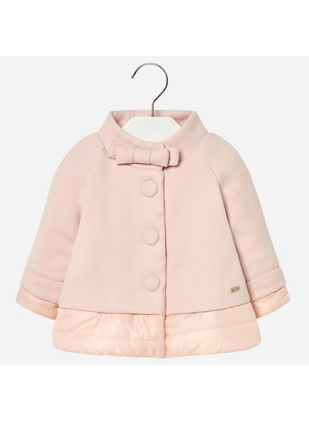 Mayoral Rose Bow Front Peplum Coat