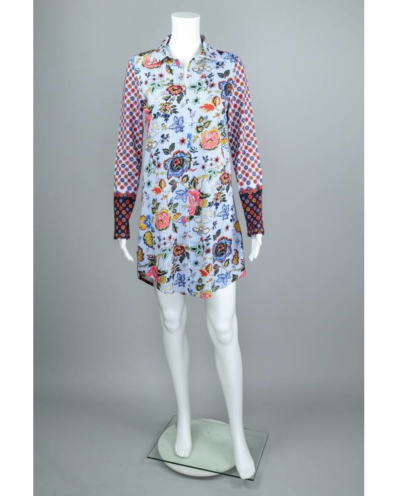 Isle Apparel Flowers In Your Hair Polo Collar Tunic Dress