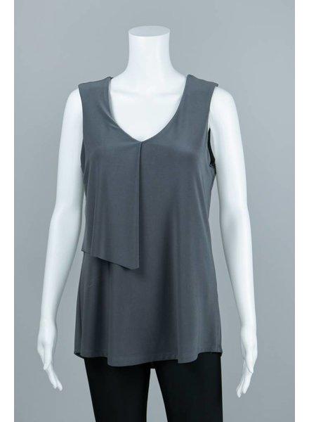 Compli K Sleeveless V Neck Front Overlay Knit Top