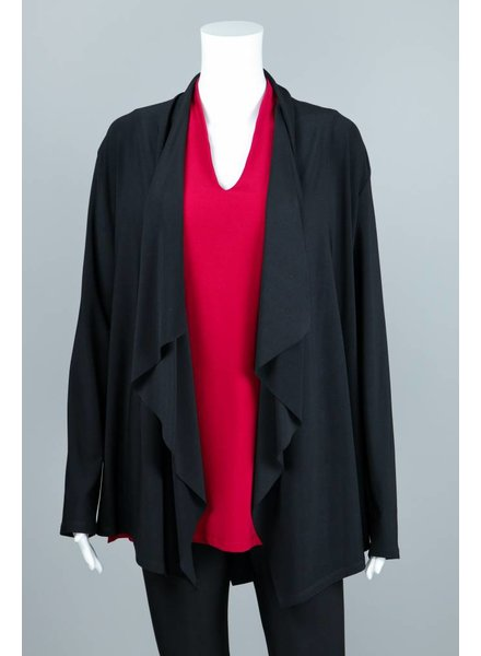 Compli K Black Knit Layered Back Cardigan