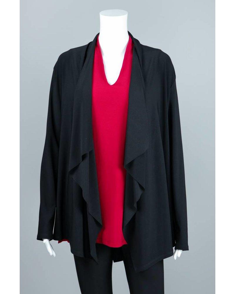 Compli K Black Knit Layered Back Cardigan