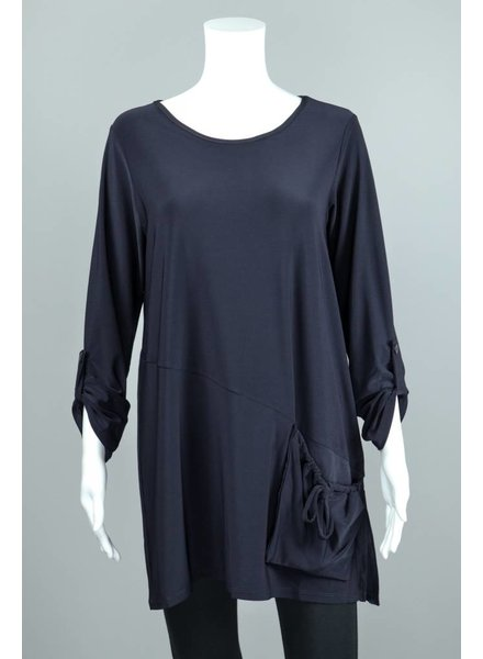Luukaa Cindy Tab Sleeve Ruched Pocket Blouse