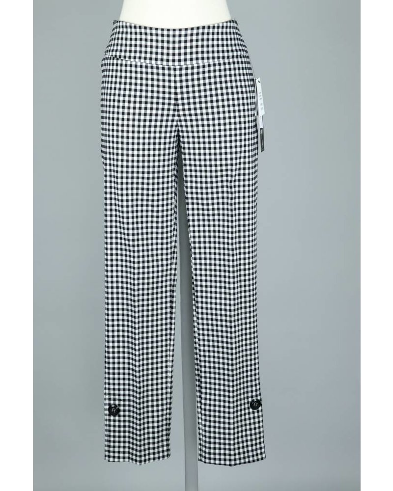 UP! Black & White Gingham Side Vent Button Pant