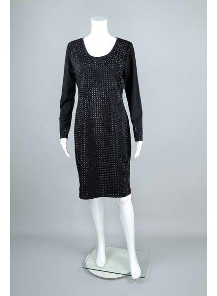 Elena Wang Long Sleeve Jet Bead Front Dress