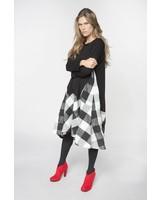 Alembika Jersey Two Fabric Plaid Taffeta Dress