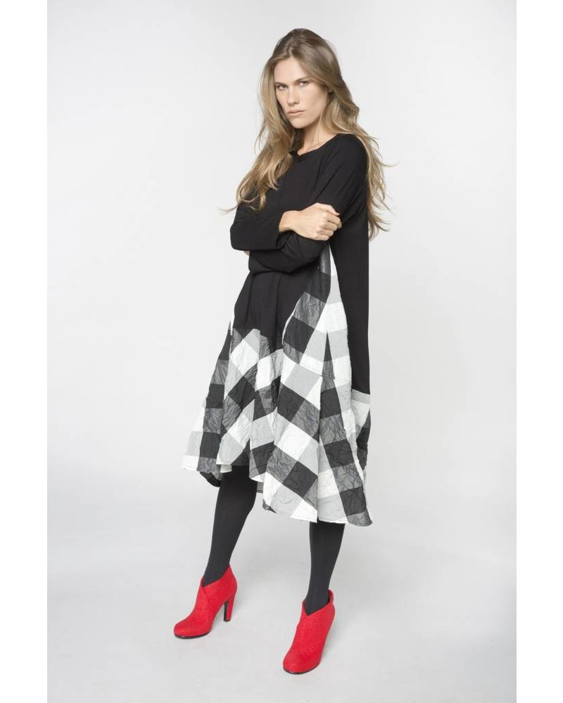 Alembika Jersey Two Fabric Plaid Taffeta Dress