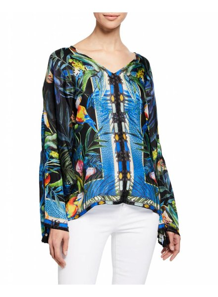 Johnny Was Black Parrot Print Jungle Blouse