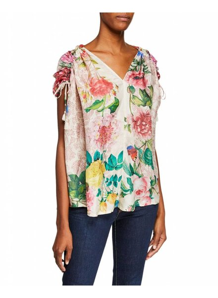 Johnny Was Pink Floral Botanical Top