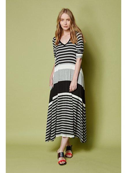 Alembika Black/Grey Stripe Jersey Dress