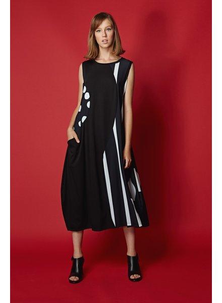 568a7de50d6e8 Alembika Black Stripes   Dots Bubble Tank Dress