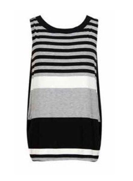 Alembika Black/Grey Stripe Crew Neck Tank