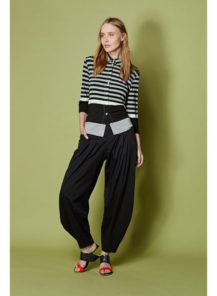 Alembika Black/Grey Stripe Button Front Top