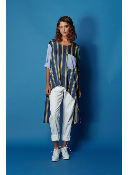 Alembika Blue Poly Cotton HiLo Stripe Tunic