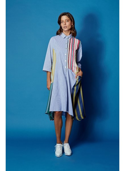 Alembika Mix Patchwork Stripe Tunic Dress