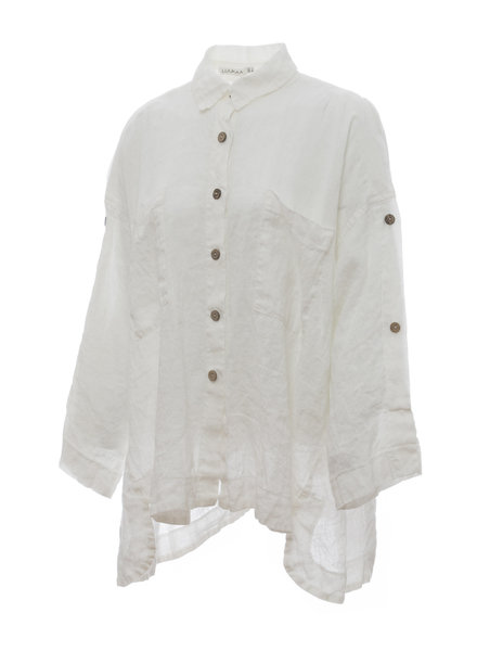 Luukaa Nicole White Split Shoulder Button Collar Shirt