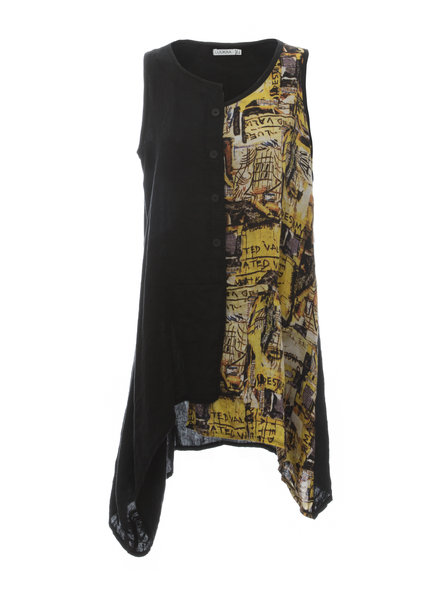 Luukaa Nicole Black & Yellow Split Printed Tunic