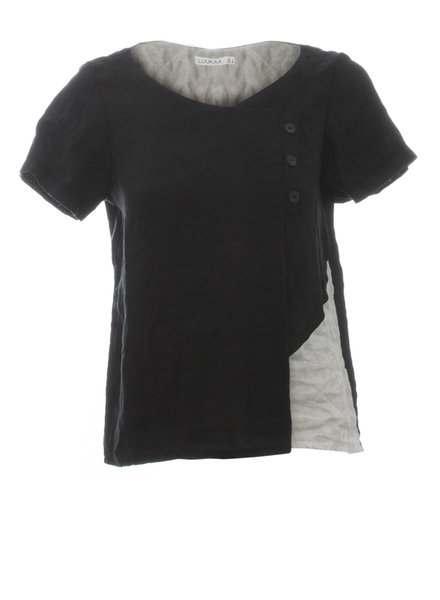 Luukaa Nicole Black Round Neck Side Button Blouse