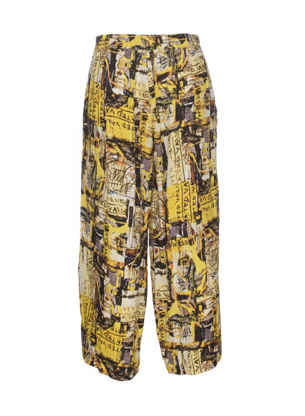 Luukaa Nicole Yellow Printed Pocket Pant With Leg Ties