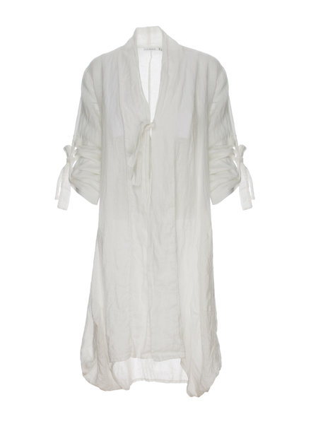 Luukaa Nicole White Collar And Sleeve Tie Duster