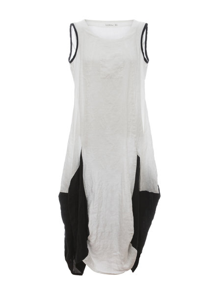 Luukaa Nicole Black & White Sleeveless Front Pocket Dress