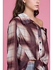 Byron Lars Beauty Mark Off The Shoulder Ombre Plaid Shirt