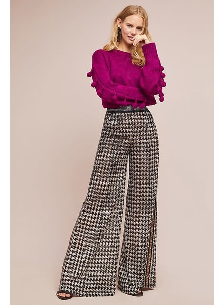 Byron Lars Beauty Mark Opening Night Houndstooth Wide Leg Pant