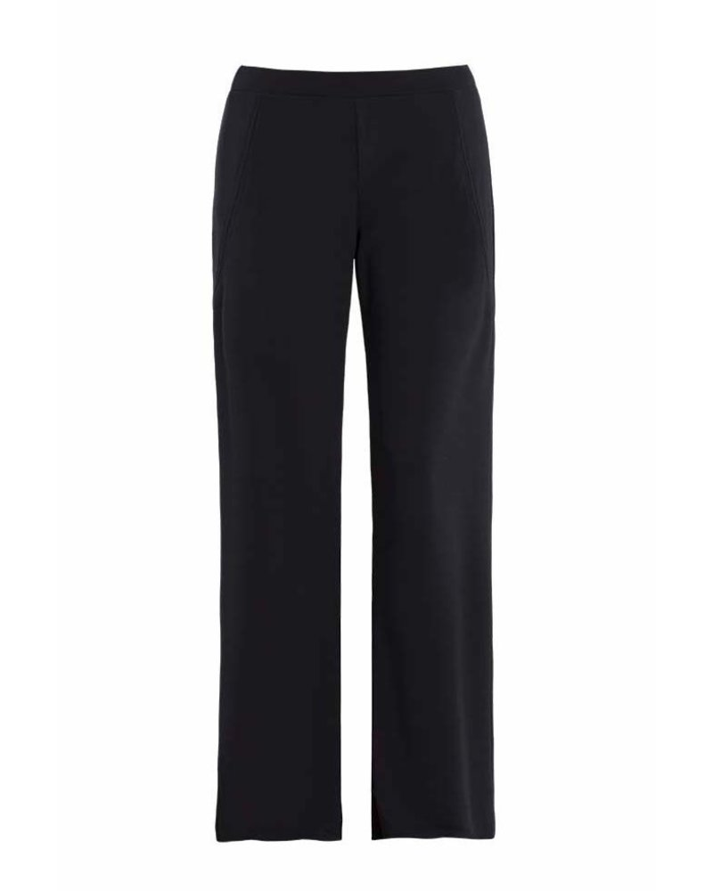 Dolcezza Black Polyester Pull On Wide Leg Pant