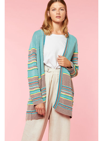 Aldo Martin Mint and Wine Amo Stripe Cardi Sweater